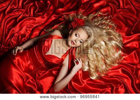 Woman Hair Style, Fashion Model Long Curly Hair, Girl Red Color Cloth
