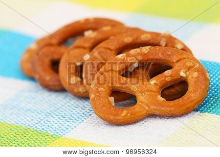 Salty pretzels, closeup