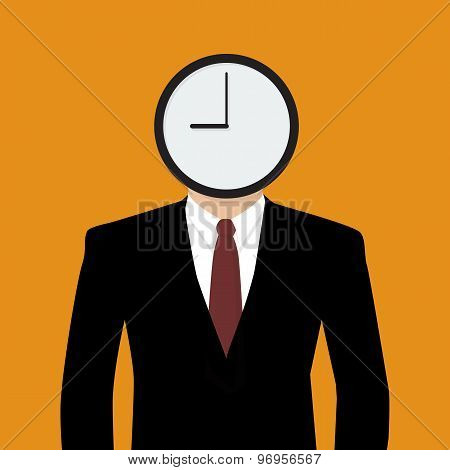 Businessman His Head Is A Clock