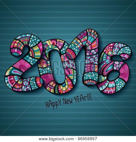 Happy New Year 2016. Decorative hand drawn inscription