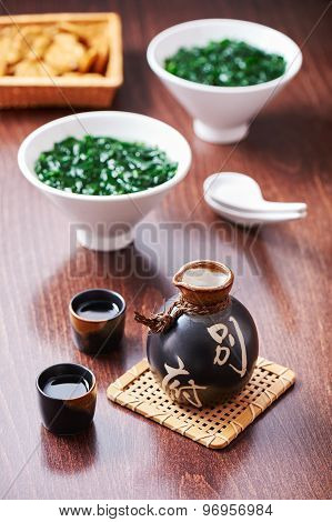 Japanese Sake Set And Soup From Seaweed