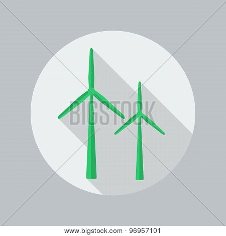 Eco Flat Icon. Wind Energy
