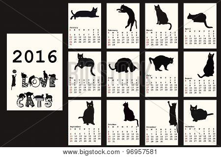 2016 Calendar With Black Cats