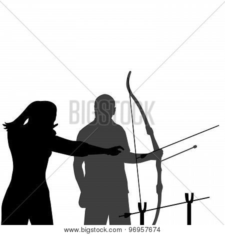 Instructor Teaching A Man How To Shoot Bow