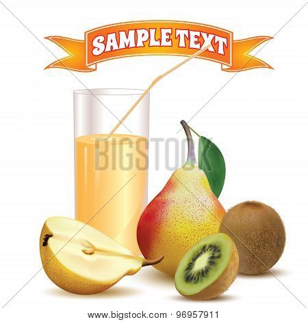 glass with juice and straw, pear and kiwi