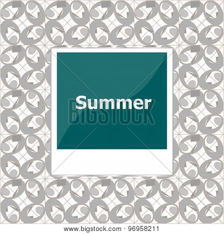 Summer Background, Summer Words On Empty Photo Frame, Summer Holiday