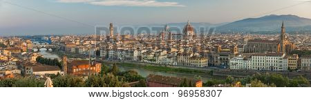 FLORENCE, ITALY - June 23, 2015: Florence during sunrise from Piazzale Michelangelo