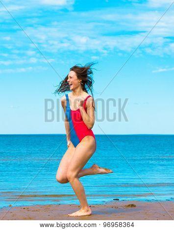 On a Beach Clear Blue Sky