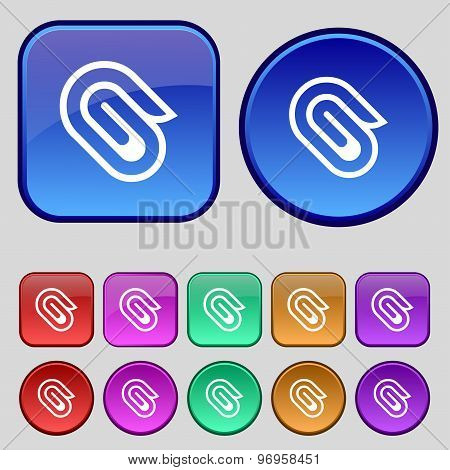 Paper Clip Icon Sign. A Set Of Twelve Vintage Buttons For Your Design. Vector