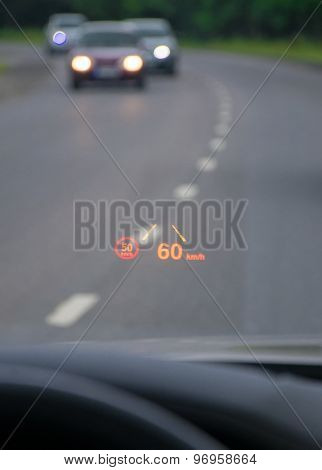 Car Hud. Modern Car Head-up Display.