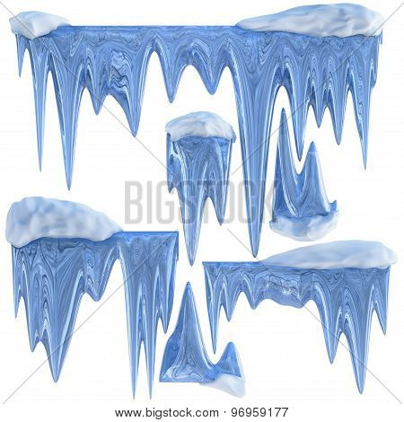 Set Of Hanging Thawing Icicles Of A Blue Shade