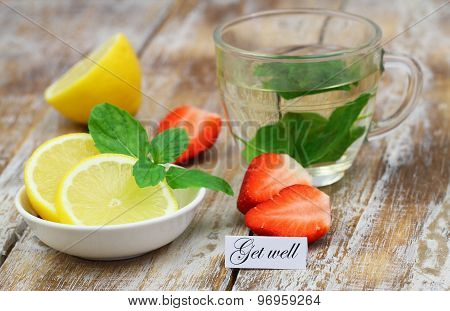 Get well card with mint tea, lemon and strawberries