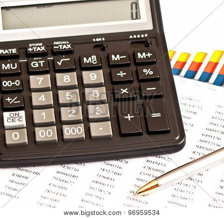 Business Picture: Calculator, Financial Graphs, Pen