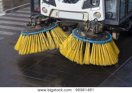 Brushes of street sweeper