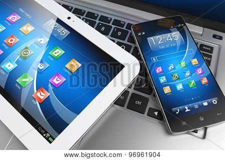 Mobile Devices. Tablet Pc, Smartphone On Laptop, Technology Concept
