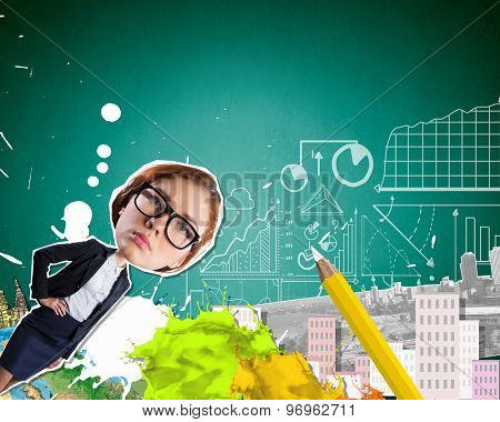 Young smiling businesman at composite business background