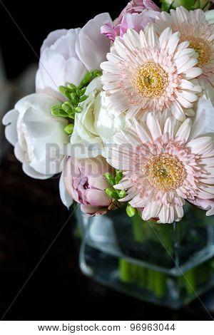 Bouquet of peonies and gerberas