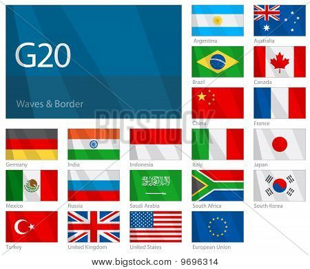 Waving flags of G-20 countries. Design: WAVES & BORDER.