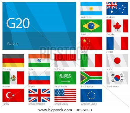 Waving flags of G-20 countries. Design: WAVES.