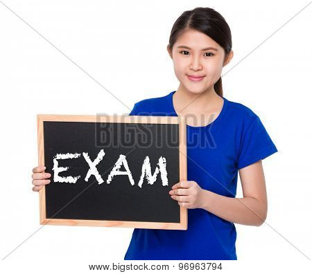 Asian student show with blackboard a word exam