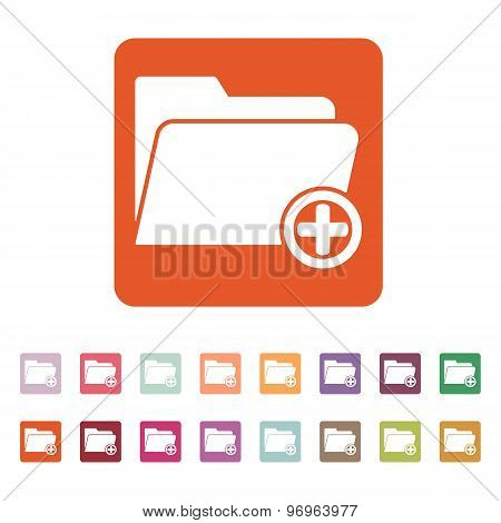 The add to folder icon. Data and directory, archive, storage symbol. Flat