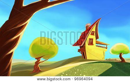 cartoon yellow  house