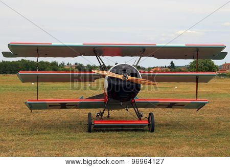 Thiene, Vicenza - Italy. 26Th July, 2015: Red Triplane Fokker Dr-1