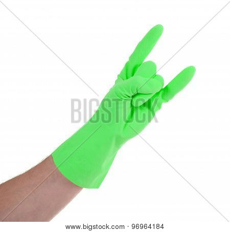 Hand In Rubber Gloves Gesturing, Close Up