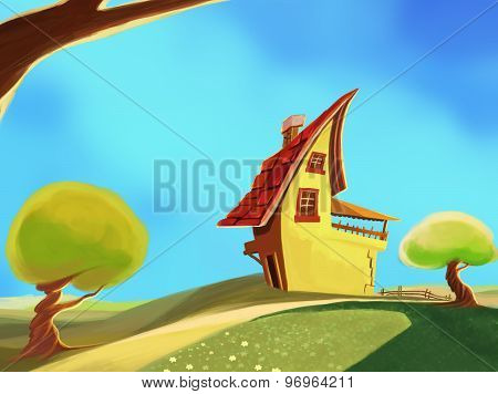 cartoon yellow  house illustration