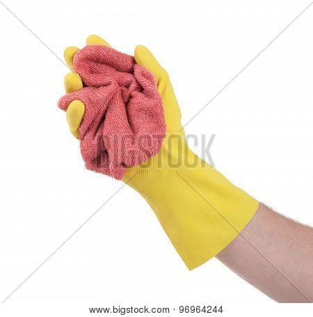 Hand In Rubber Glove, Ready For Cleaning