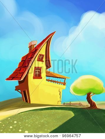 cartoon house with tree
