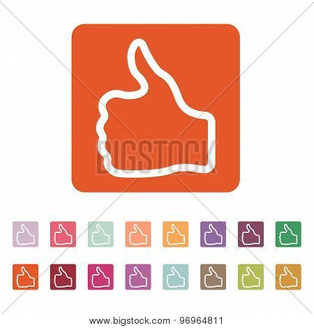 The thumb up icon. Like and yes, approve symbol. Flat
