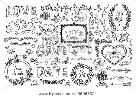 Set Of Wedding Ornaments And Decorative Elements