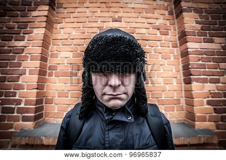 Funny Disappointed Shy Man Hiding In His Cap