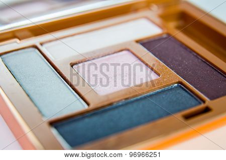 Eye shadow palette close up