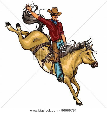 Rodeo Cowboy riding a horse isolated.