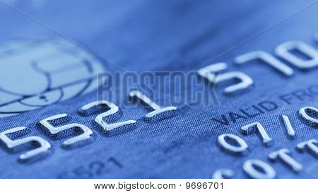 Close up of blue credit card