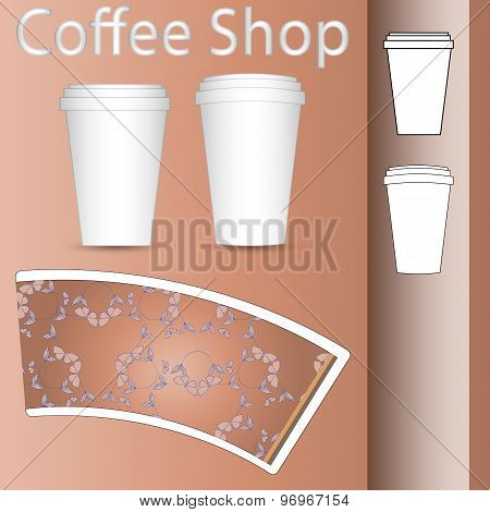 coffee paper cup mock-up layout