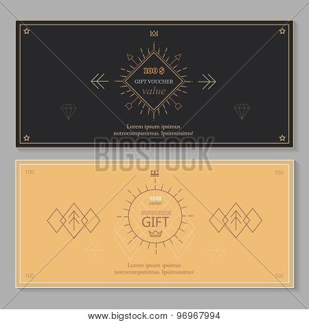 Gift certificate voucher coupon template with line art. Hipster design