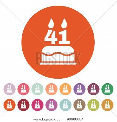 The birthday cake with candles in the form of number 41 icon. Birthday symbol. Flat