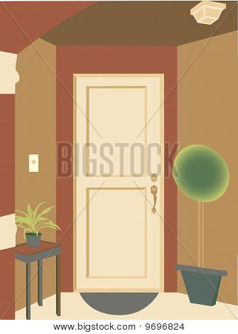 Abstract Angled Doorway Entrance Into Building With Plants And Mat