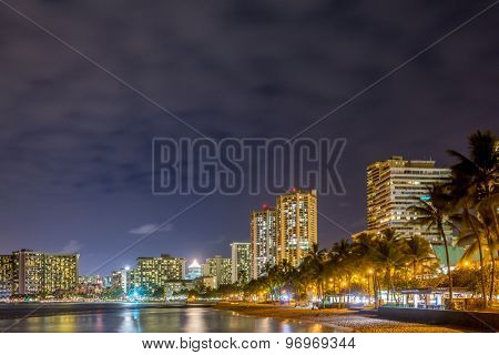 Fantastic view of tropical ocean at night in Honolulu, Hawaii, USA