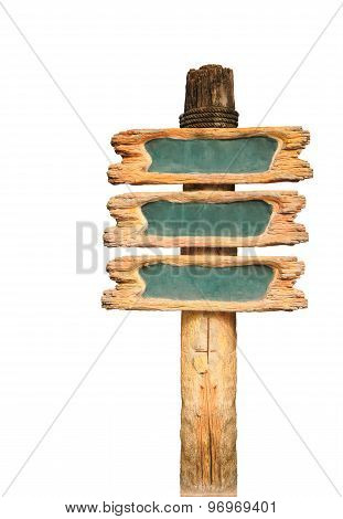 Vintage Wooden Sign Isolated On White With Clipping Path.