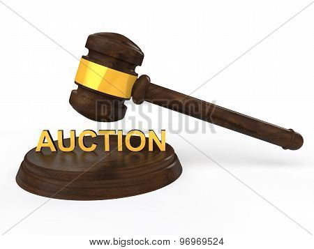 3D gavel with auction text