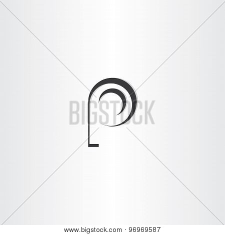 Letter P Black Vector Logo Design