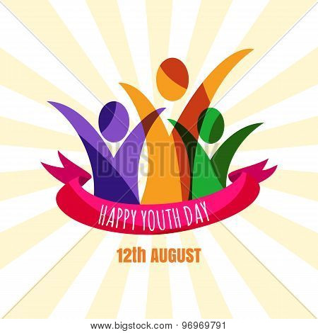 Multicolor Abstract Young Happy People With Ribbon. Design Concept For International Youth Day Celeb
