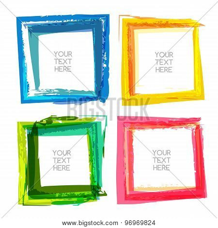 Vector Watercolor Brush Background. Set Of Multicolor Abstract Square Frames With Place For Text.