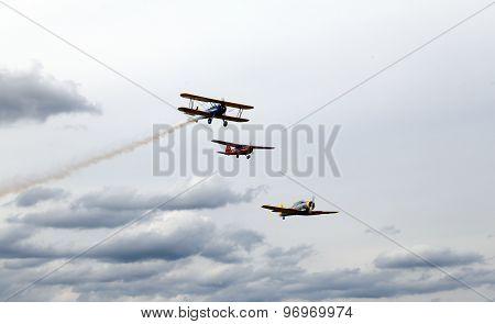 Thiene, Vicenza - Italy. 26Th July, 2015: Three Aircraft Aerobatics In The Sky