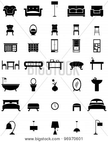 Silhouette Flat Home Appliance Furniture And Interior Decoration Icon Collection Design Set, Create