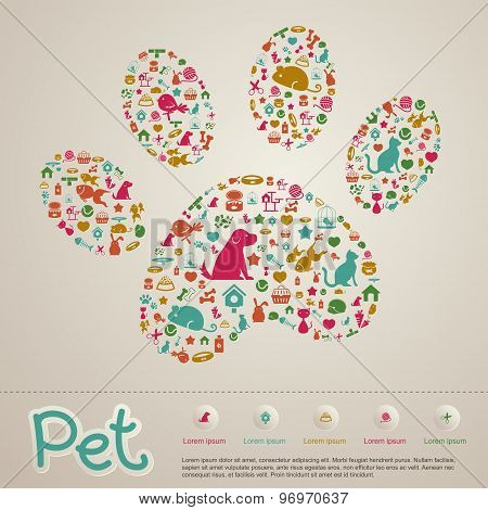 Cute Creative Animal And Pet Shop Infographic Icon Brochure Banner Badge Background Template Layout